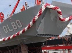 قطر تدشن سفينة حربية مصنوعة في تركيا (شاهد)