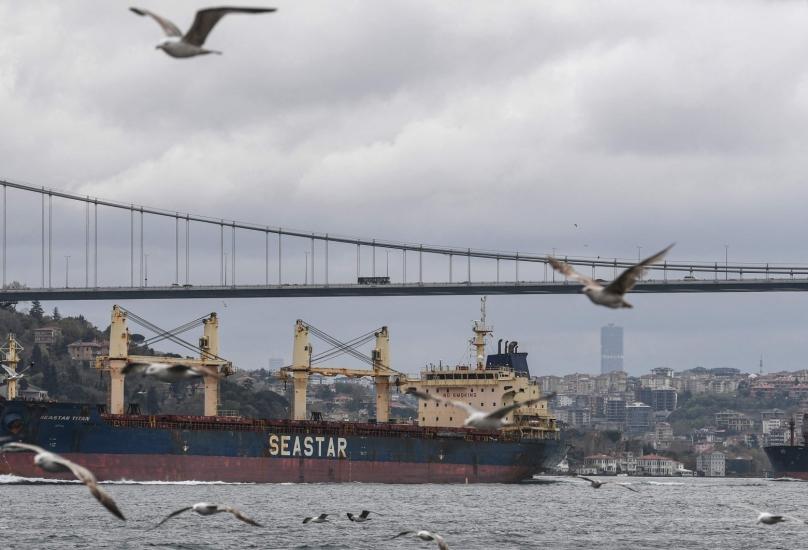 سفينة في طريقها إلى البحر الأسود عبر مضيق البوسفور في اسطنبول
