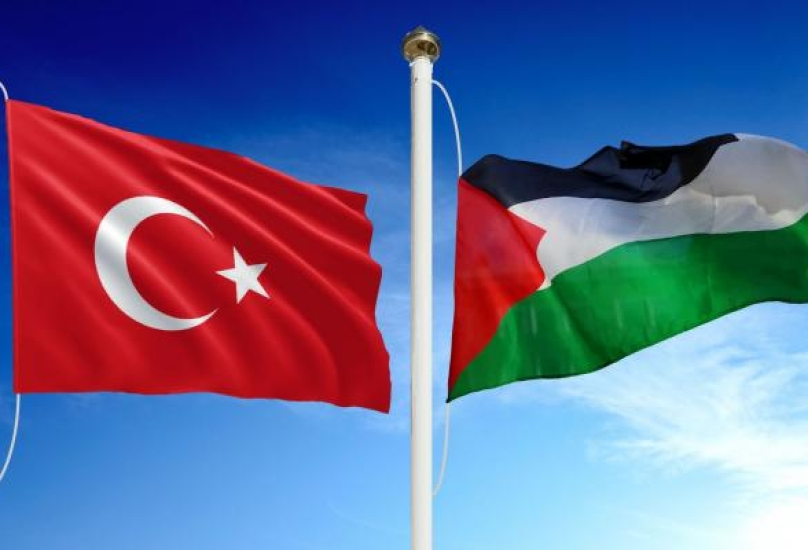 أعلام فلسطين والجمهورية التركية