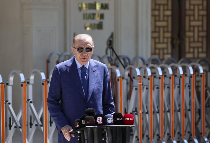 الرئيس أردوغان خلال مشاركته في افتتاح سد عفرين الأعلى جنوبي تركيا