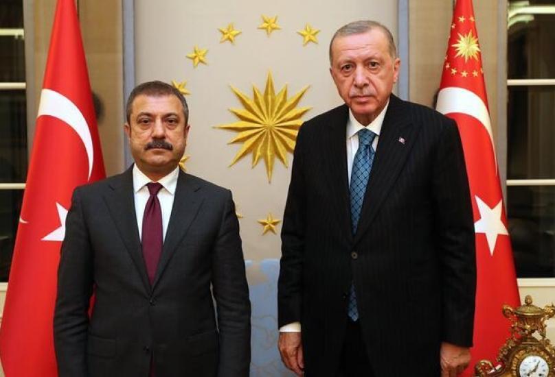 الرئيس رجب طيب أردوغان خلال لقاء محافظ البنك المركزي التركي