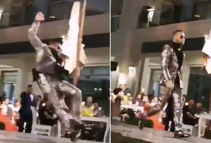 شاهد لحظة سقوط الفنان محمد رمضان في دبي